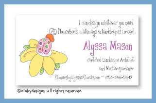 Suzie the ladybug calling cards, personalized