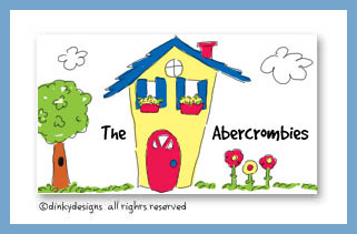 Colorful little house calling cards on pre-printed cardstock, personalized