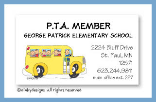 School bus with kids calling cards, personalized