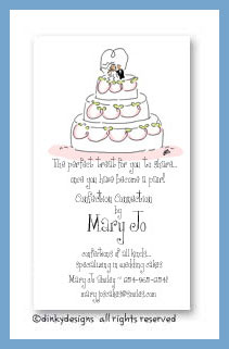 Whimsical wedding cake calling cards, personalized