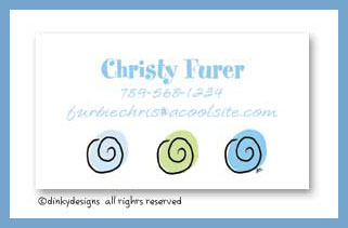 Blue swirls calling cards, personalized