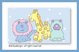 Giraffe, lion and bear calling cards on pre-printed cardstock, personalized