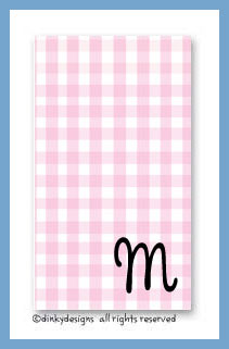 Gingham pink calling cards on pre-printed cardstock, personalized