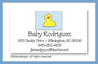 Rubber duckie calling cards on pre-printed cardstock, personalized