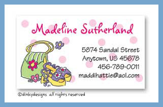 Girly purse & shoes calling cards, personalized