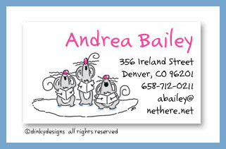 Bulk Three singing mice calling cards, personalized