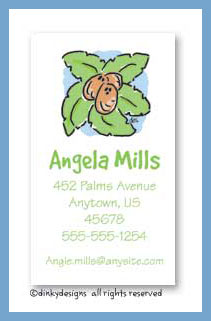 Deserted isle palm tree calling cards, personalized