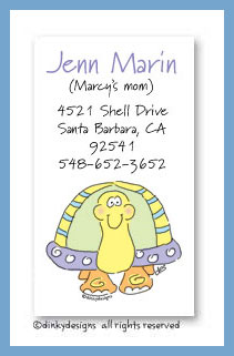 Tommy the turtle calling cards, personalized