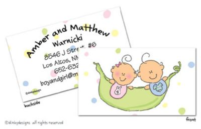 Peas in a pod - boy/girl calling cards on pre-printed cardstock, personalized