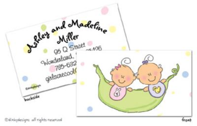 Peas in a pod - girl/girl calling cards on pre-printed cardstock, personalized