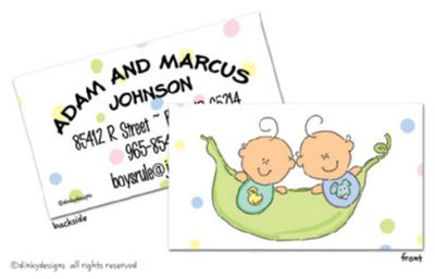Peas in a pod - boy/boy calling cards on pre-printed cardstock, personalized