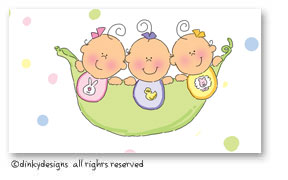 Peas in a pod - three girls calling cards on pre-printed cardstock, personalized