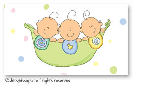 Peas in a pod - three boys calling cards on pre-printed cardstock, personalized