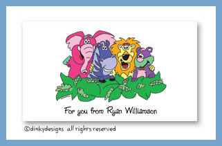 Zebra & pals calling cards, personalized