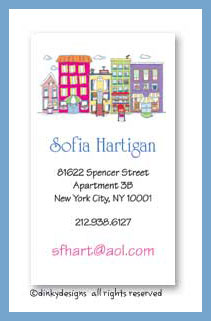 City scene calling cards, personalized