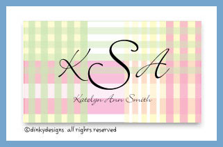 Preppy plaid calling cards pre-printed cardstock, personalized