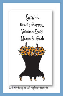 Corset line, black leopard calling cards, personalized