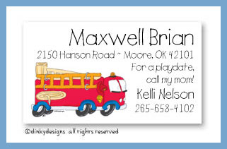 Fire truck calling cards, personalized