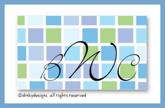 Blue tile calling cards on pre-printed cardstock, personalized