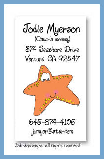 Selma the starfish calling cards, personalized