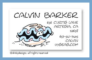 Curtis the clam calling cards, personalized