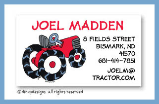Barnyard tractor calling cards, personalized