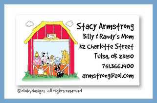 Barnyard pals calling cards, personalized