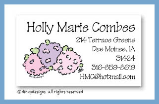 Hydrangea calling cards personalized, personalized