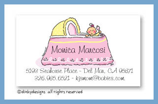 Girl in bassinet calling cards, personalized