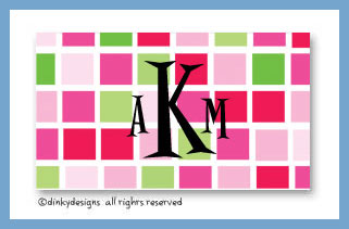 Pink tile calling cards on pre-printed cardstock, personalized