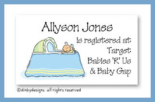 Boy in bassinet calling cards, personalized