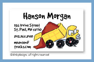 Big dump truck calling cards, personalized
