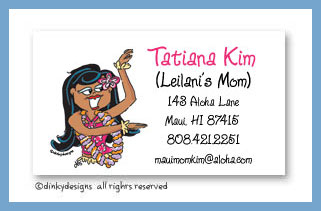 Teenie wahine calling cards, personalized