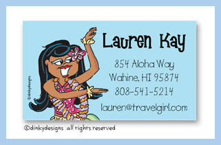 Teenie wahine calling cards on pre-printed cardstock, personalized