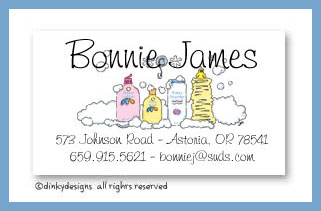 Dinky Designs Stationery Discounted - Baby bath calling cards, personalized