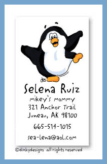 Poppy the penguin calling cards, personalized