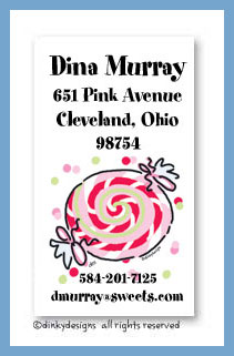 Peppermint calling cards, personalized