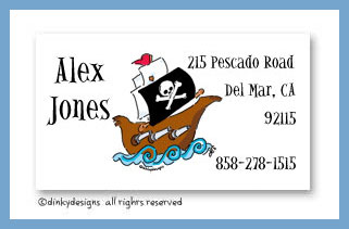 Pirate ship calling cards, personalized