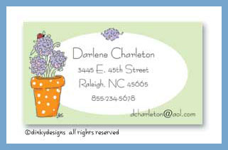 Potted hydrangea calling cards, personalized