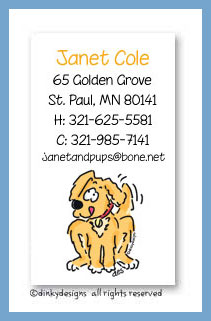 Dinky Designs Stationery Discounted - Pluto the puppy calling cards, personalized