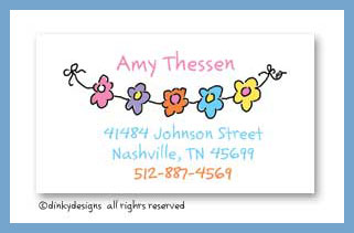 String of flowers calling cards, personalized