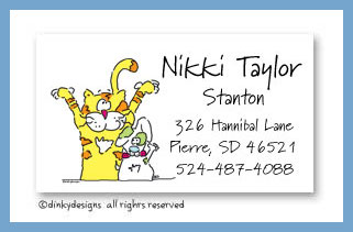 Dinky Designs Stationery Discounted - Calvin & Dougie calling cards, personalized