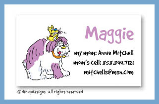Chester & Max calling cards, personalized