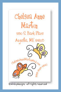 Teenie butterflies calling cards, personalized
