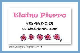 Posies in a row calling cards, personalized