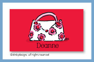 Dinky Designs Stationery Discounted - Posie pocketbook calling cards on pre-printed cardstock, personalized