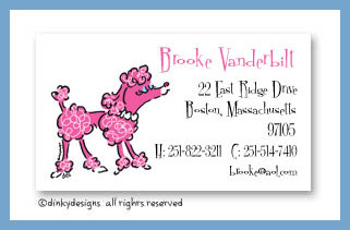 Fifi poodle calling cards, personalized