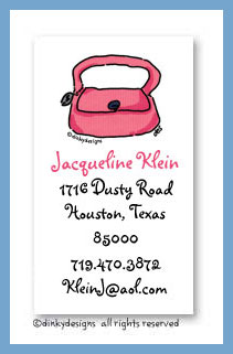 Dusty pink purse calling cards, personalized