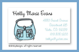 Robin's egg handbag calling cards, personalized