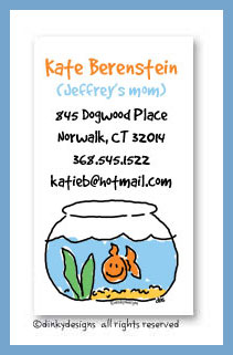 Finnian the goldfish calling cards, personalized